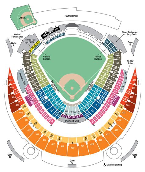 kauffman stadium map kauffman stadium seating 2009 kansas city royals