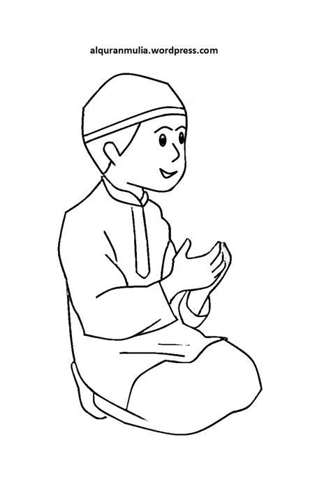 mewarnai gambar kartun anak muslim  alquranmulia