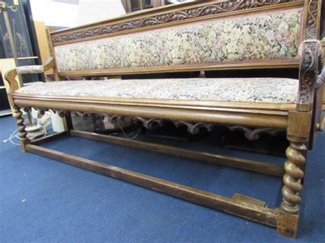 antique deacon s bench lot detail antique upholstered carved oak deacons bench