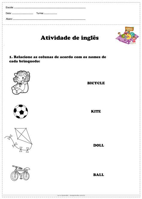 Relacione a coluna de acordo com brinquedo - Ler e Aprender