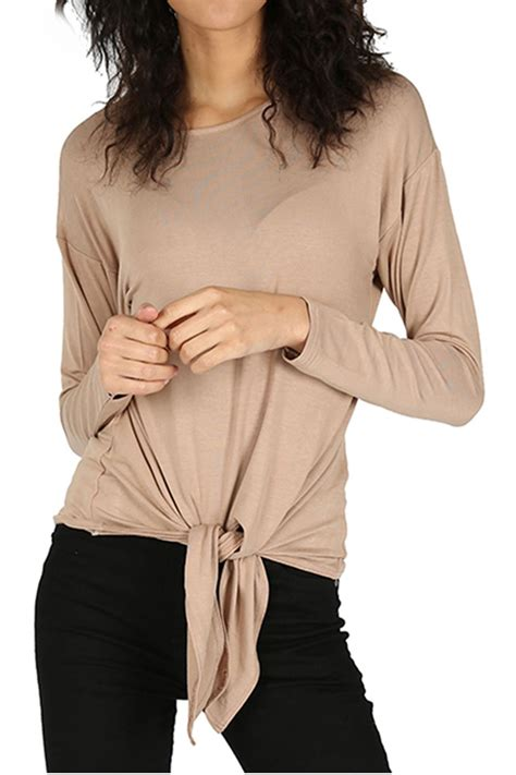 Sleeve Tie Front T Shirt front knot twist t shirt jersey sleeve