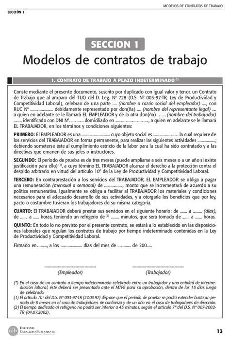 modelo de contrato de trabajo para el servicio domestico manual practico contratos de trabajo