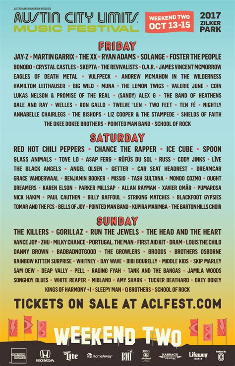 City Limits Weekend 2 Acl 2017 Day By Day Lineups Single Day Tickets