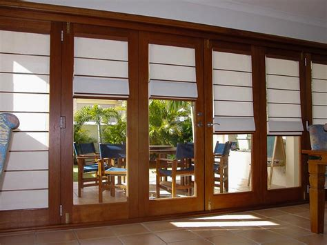 Sliding French Patio Doors With Screens Roman Blinds On French Doors Creative Blinds Toowoomba