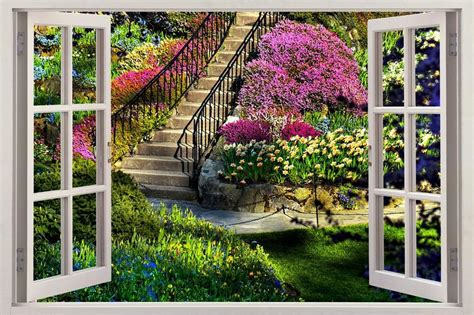 garden wall murals garden view 3d window decal wall sticker home decor