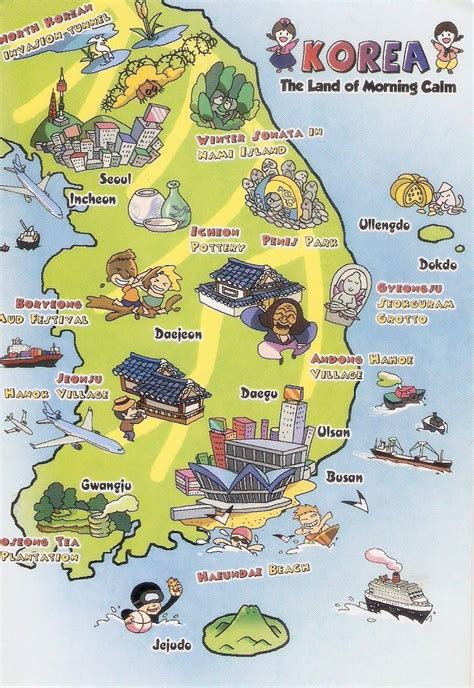seoul map tourist attractions tourist illustrated map of south korea new zone