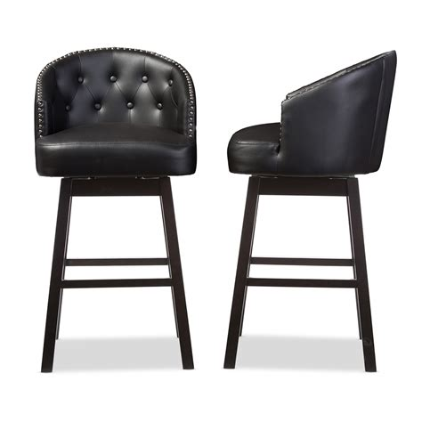 24 inch high bar stools studio black leather counter height bar baxton studio avril modern and contemporary black faux