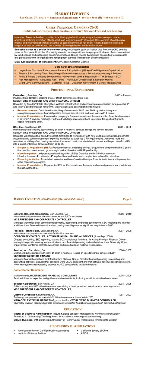 Chief Financial Officer Sle Resume by Finance Resume Sles 21 Free 28 Images Chief Financial Officer Resume Doc 28 Images Sle Cover