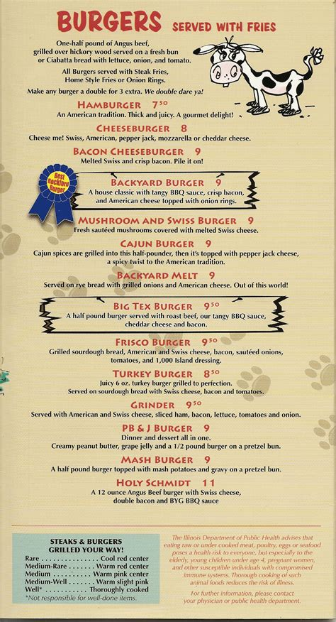 backyard grill and bar menu backyard grill and bar