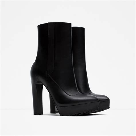 black leather ankle boots high heel zara high heel leather ankle boots in black lyst