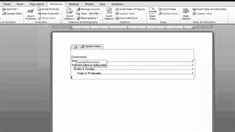 Create Table Of Contents In Word 2010 by Create A Table Of Contents In Microsoft Word 2010