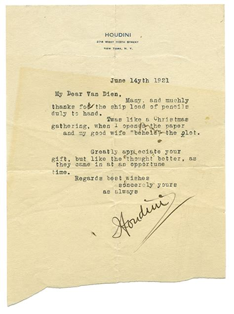 Gift Letter Signed Houdini Harry Typed Letter Signed Houdini To Richard V