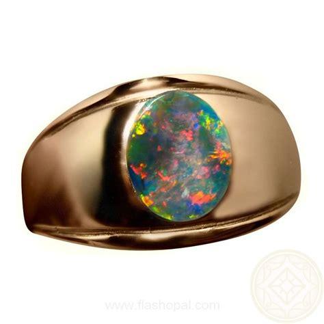 black opal mens black opal ring with red for men 14k gold flashopal