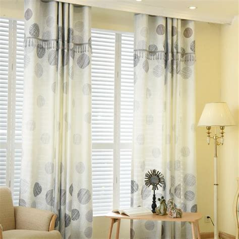 Gray Print Polka Dot Burlap Print Living Room Curtains In Living Room Window Panels