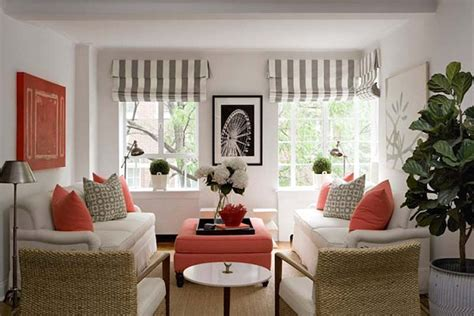 navy and coral living room decorating with shades of coral