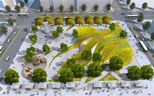 Sustainable Landscape Arch Rolling Green Ribbons Proposed For New Park In