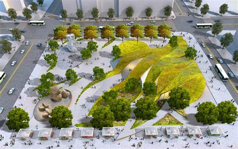 design center parking rolling green ribbons proposed for new urban park in