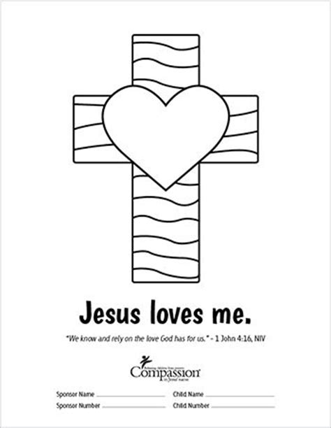 jesus loves me cross coloring page 10 images about compassion on pinterest trips ecuador