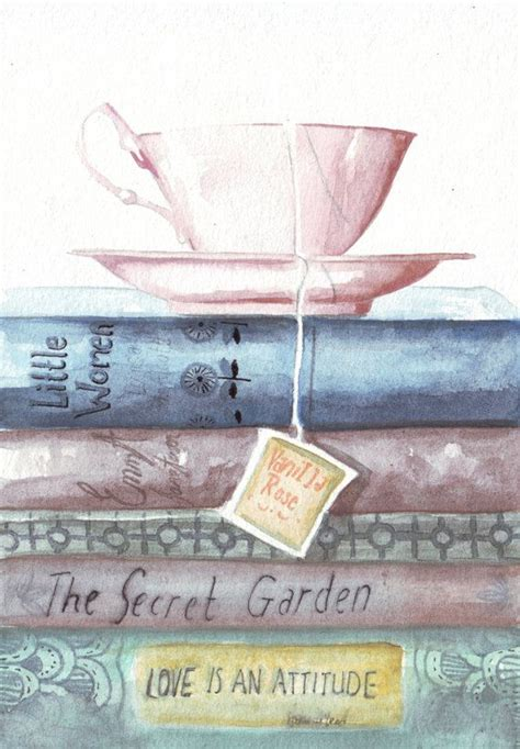 original watercolor painting teacup vintage books classic reads austen secret garden