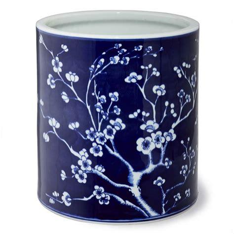 williams sonoma blue and white 3 piece ceramic canister blue and white ceramic cachepot cherry blossom williams