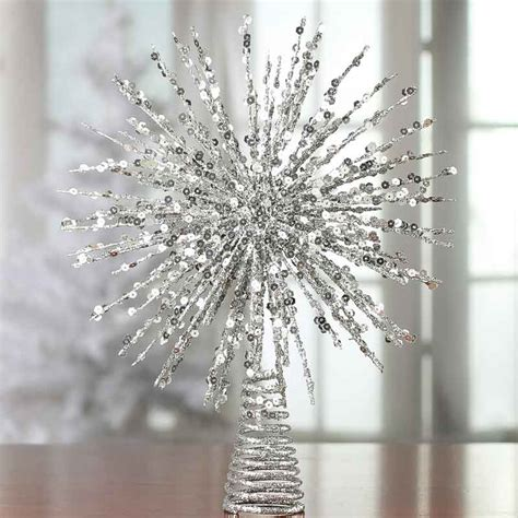 silver glittered wire starburst tree topper christmas