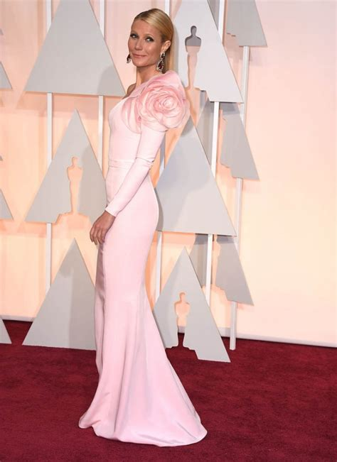 Taylor Carpet Tools by Gwyneth Paltrow 2015 Oscars Light Pink One Sleeve Red