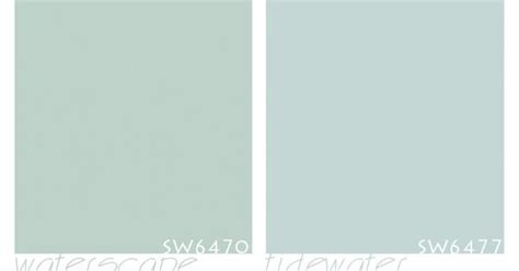 side by side comparison of sherwin williams waterscape and tidewater blue gray paints