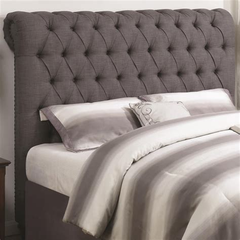 grey tufted headboard queen coaster devon queen button tufted headboard in gray
