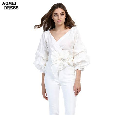 fashion white ruffles blouse v neck