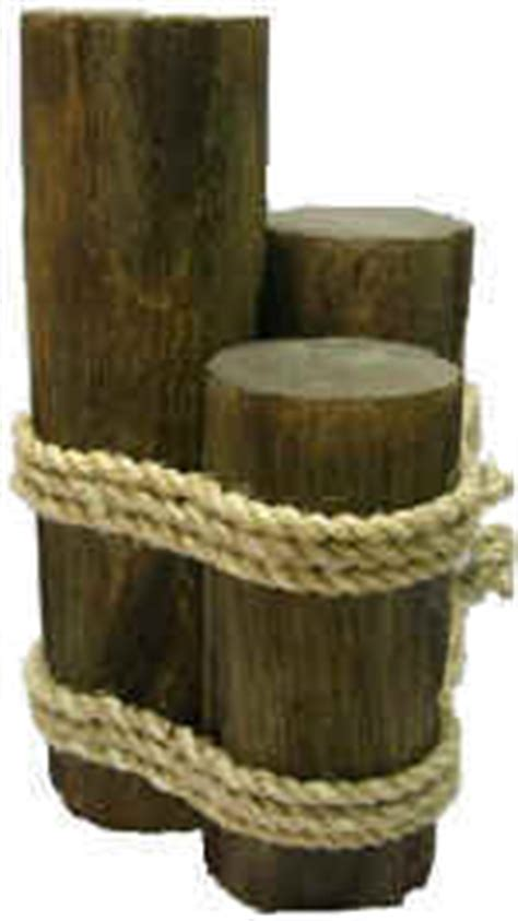 Wood 3 Pier Post Tealight Wood 3 Pier Post With Abaca Rope Brown Distress