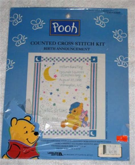 Winnie The Pooh Cross Stitch Birth Record Leisure Arts Pooh Birth Announcement Counted Cross Stitch