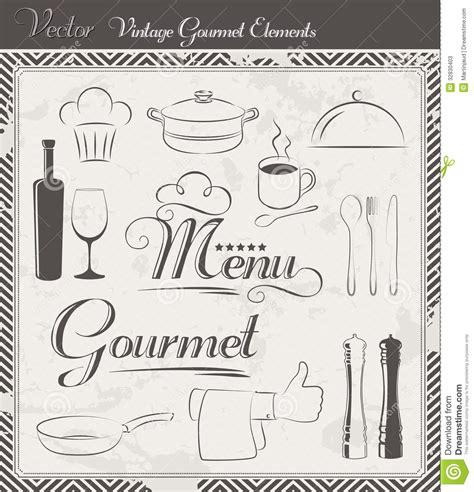 vintage menu design elements vector set vintage vector menu and gourmet elements stock vector