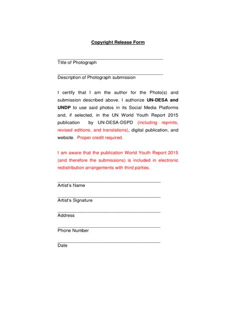 Copyright Release Form   2 Free Templates in PDF, Word