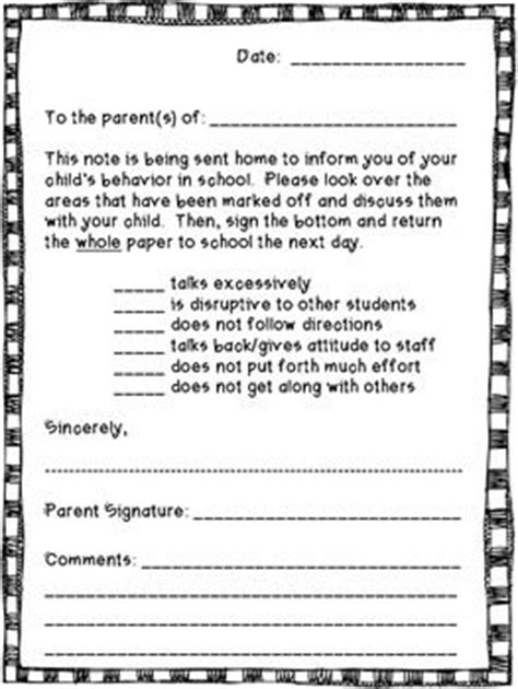 Parent Letter Home For Behavior Note Need To And Home On