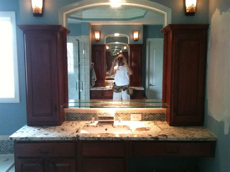 Custom Made Bathroom Vanity Tops Handmade Bath Vanity With Granite Tops And Custom Shelf Towers By Rocky Tops Custom Granite