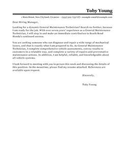 Building Maintenance Technician Cover Letter by Best General Maintenance Technician Cover Letter Exles Livecareer