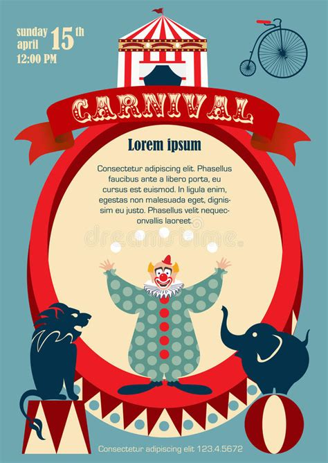 carnival posters template vintage carnival or circus poster stock vector