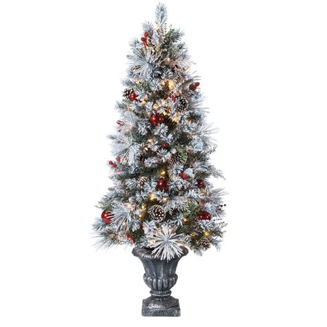 what artificial pre lit chridtmas are at home depot shop living 5 ft pre lit pine artificial tree with white incandescent lights