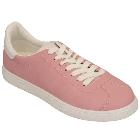 tennis shoes for flat suede look trainers womens lace up flat tennis