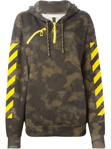 Print Hoodie white c o virgil abloh camouflage print hoodie in