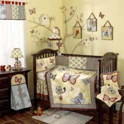 baby crib bedding set yellow butterfly flowers