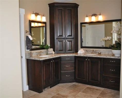 master bathroom vanity with corner cabinet and