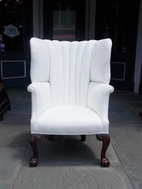 antique mahogany barrel back wing chair for sale at 1stdibs english chippendale mahogany barrel back wing chair circa