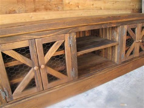"""Rustic """"Chicken Coop"""" TV Console with Barn Style Doors"""