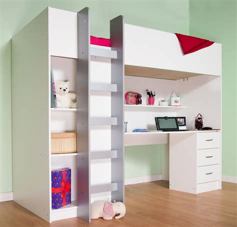 Childrens High Sleeper Beds With Wardrobe by Cambridge High Sleeper Bed White With Blue Or Pink