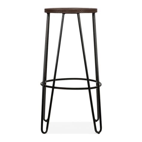 All Black Bar Stools Hairpin Bar Stool With Wood Seat Option Black 76cm Cult