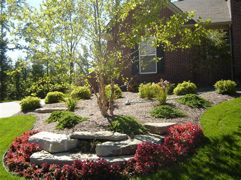 Tree Landscaping Ideas Begonia Flower Bed With Limestone Leading Up To River Birch Tree Hartland Michigan All
