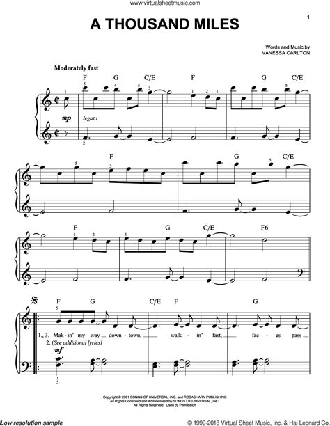 tutorial piano a thousand miles carlton a thousand miles easy sheet music for piano solo