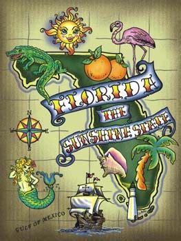 florida  sunshine state tin sign