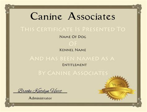 Service Animal Certificate Template by 25 Free Certificate Templates